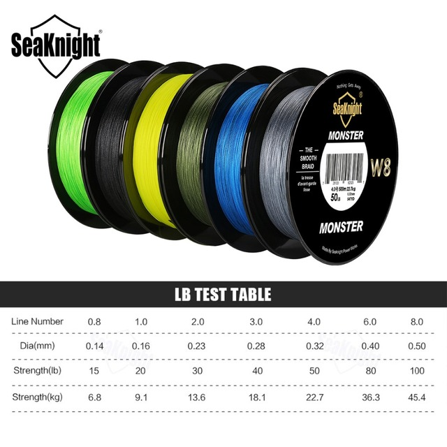 SeaKnight 500M MONSTER W8 Braided Fishing Line 8 Strands Japan PE Fishing Line Multifilament Braided Line 20 30 40 50 80 100LB 1