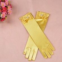 Детский день принцессы Танцевальное представление платье с перчатками длинные перчатки принцессы платье для девочек Аксессуары детский атласный перчатки