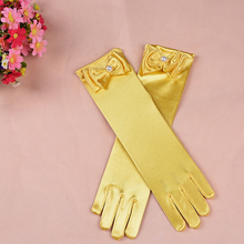 Children s Day Princess Dance Performance Gloves Dress Long Girls Accessories Baby Satin
