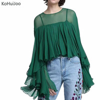 2018 Spring Summer Runway Fashion Blouses Women Euro Style Pleated Ruffles Shirts Ladies Long Sleeve Sexy