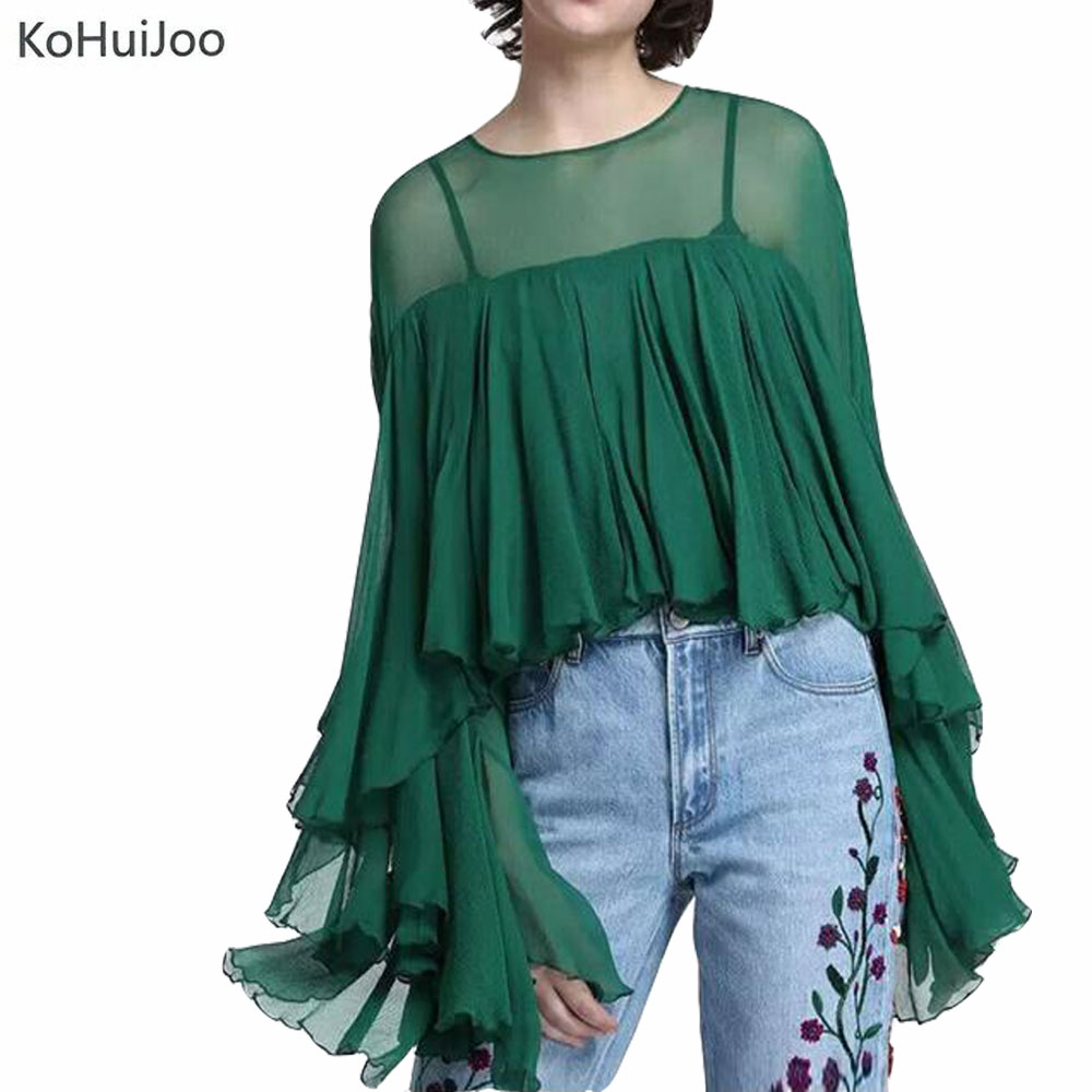 2018 Spring Summer Runway Fashion Blouses Women Euro Style Pleated Ruffles Shirts Ladies Long Sleeve Sexy Tops Streetwear by Ko Hui Joo