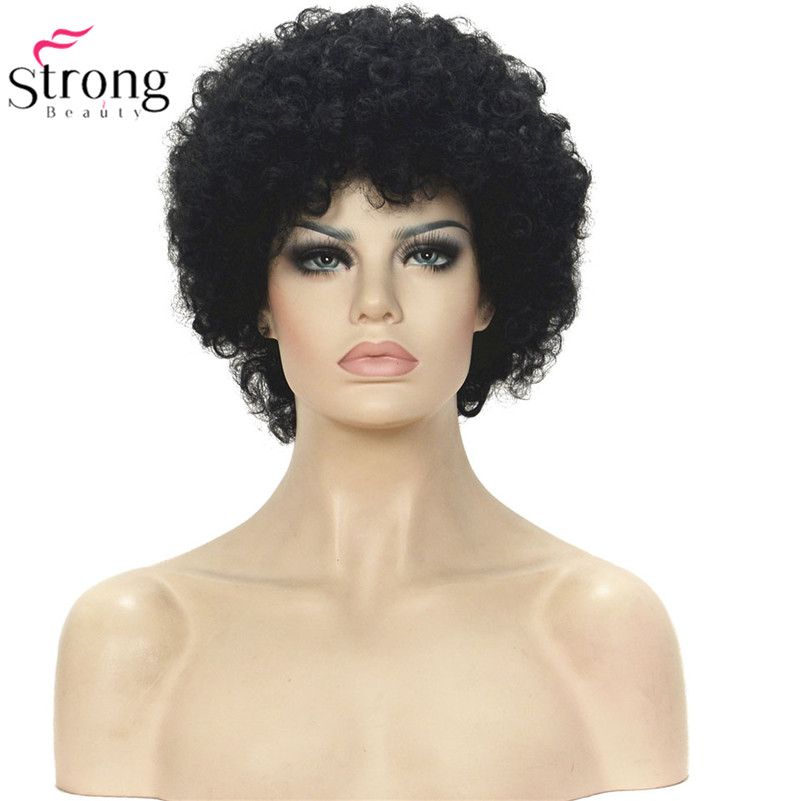 Short Black Synthetic Wig Kinky Curly Wigs for black women
