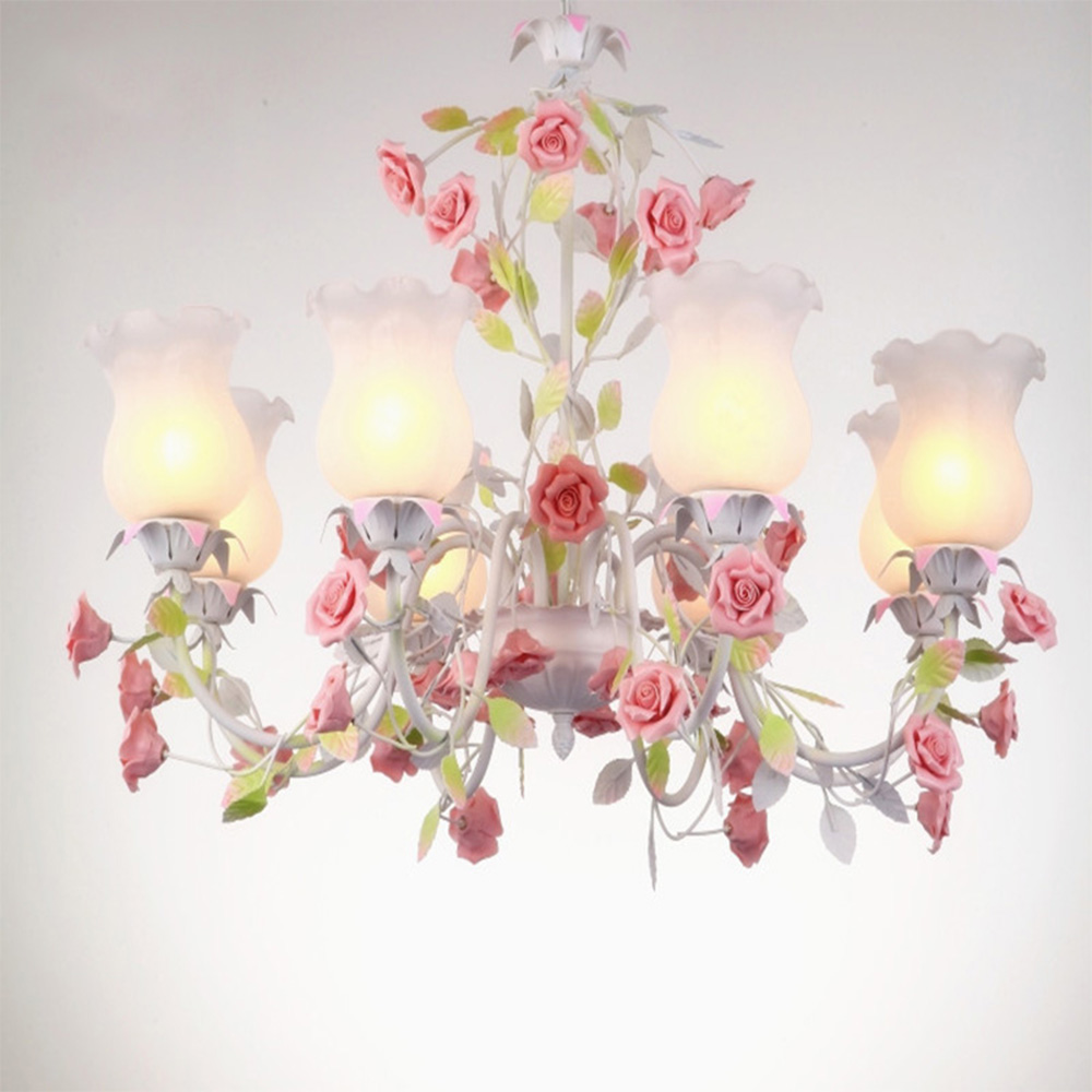 American Country  Pastoral Chandelier Flower Led Lamp Wrought Iron Chandelier	Rose Chandeliers Luminarias