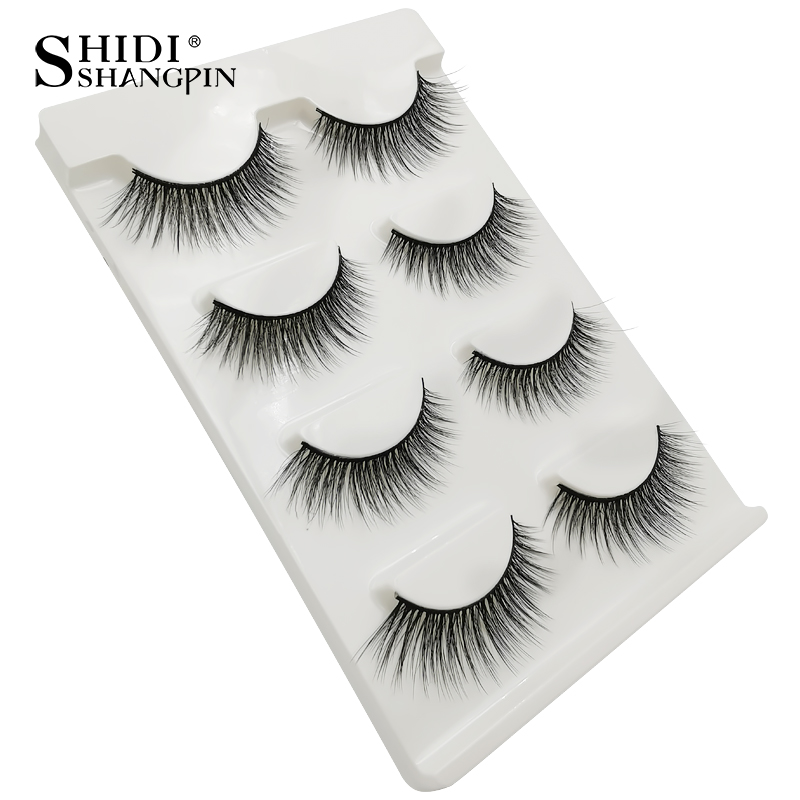 HTB1a3AraIrrK1RjSspaq6AREXXaF Natrual long 3D Mink False Eyelashes wholesale 4 pairs Fluffy Make up Full Strip Lashes 3D Mink Lashes faux cils Soft Maquiagem
