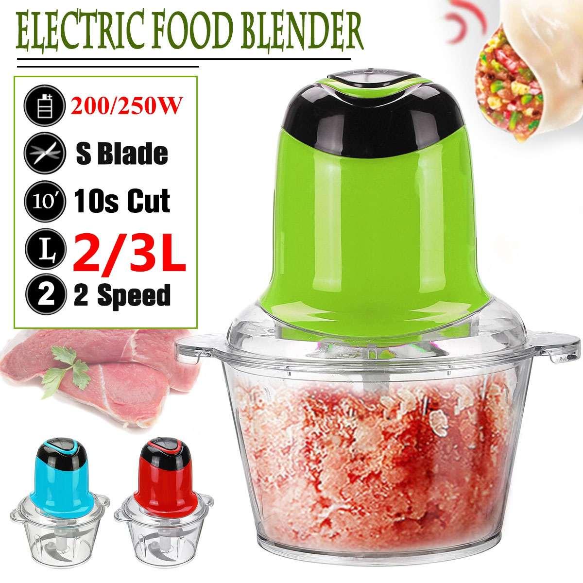 Meat Grinder 2/3L 200/250W Electric Kitchen Meat Grinder Chopper Food Chopper Stainless Steel Electric Household Kitchen Tools