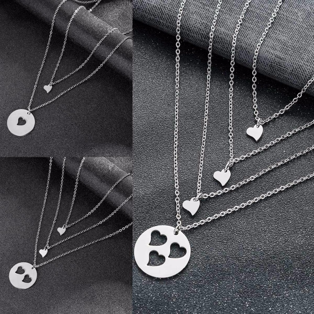 Fashion Matching Love Heart Pendant Mother Daughter Chain Necklace For Women Girl Couple Gift For Family Mom Necklaces Jewelry