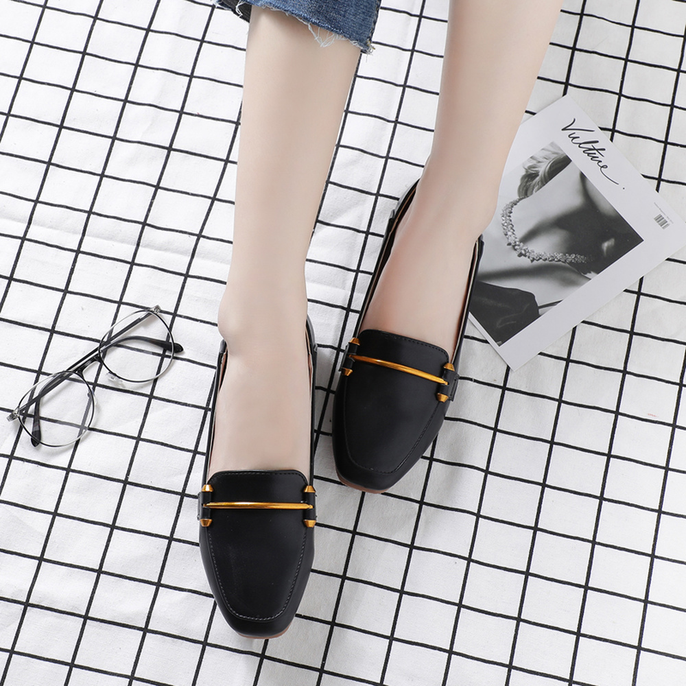Appartements Profonde Fond Tête 2018 De Peu Mode Mou black Femmes Nouvelle Carrée Automne Décoration Sexy Casual Beige Printemps Métal Bouche khaki Confortable En 88pqrHPz