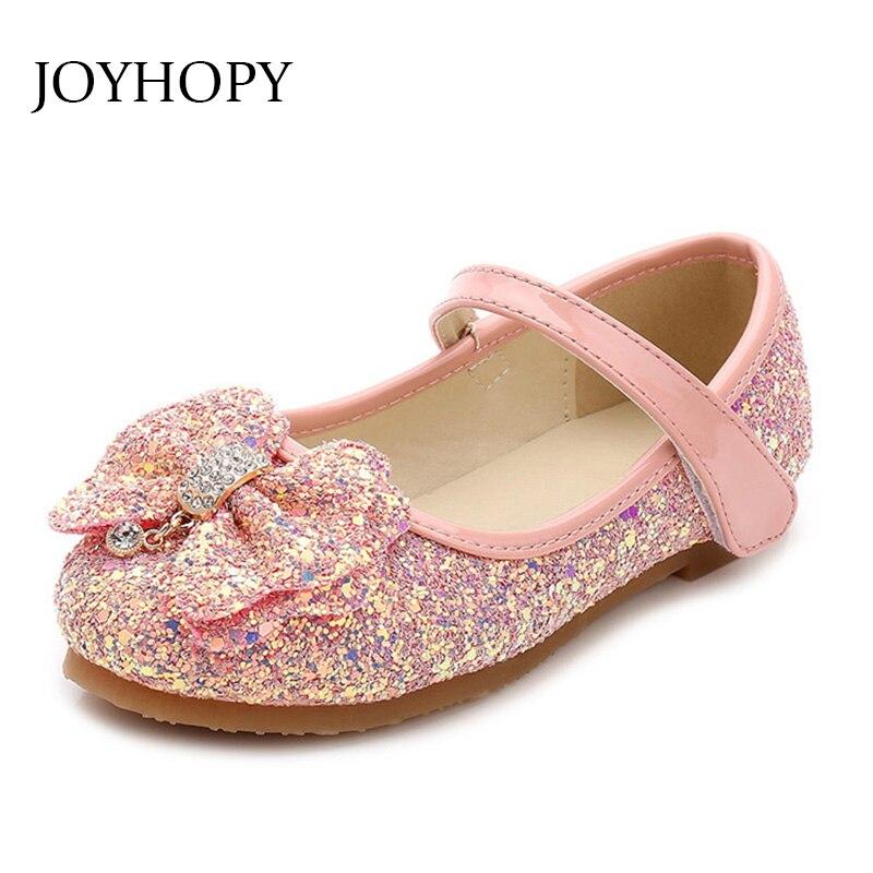 Children Princess Shoes New 2017 Girls Sequins Wedding Party Kids Baby Enfants Hot Shoes for Girls Pink Gold School Dance