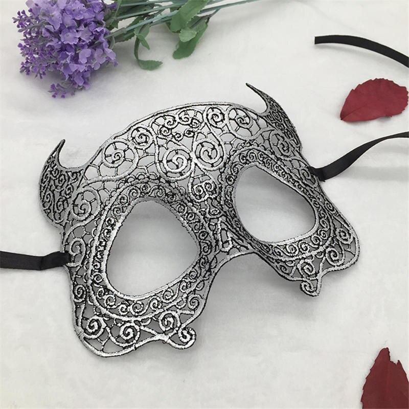 Серебряная горячая штамповка Дамская Сексуальная Маскарадная маска из кружева для карнавала, Хэллоуина, выпускного вечера, Вечерние Маски, маска для глаз#35 - Цвет: PM034TS