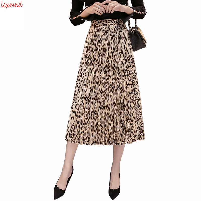 2019 Autumn and Winter New Women's Skirt Sexy Elastic Waist Leopard Pleated Skirt All Match Faldas Mujer Moda Plus Size Saia