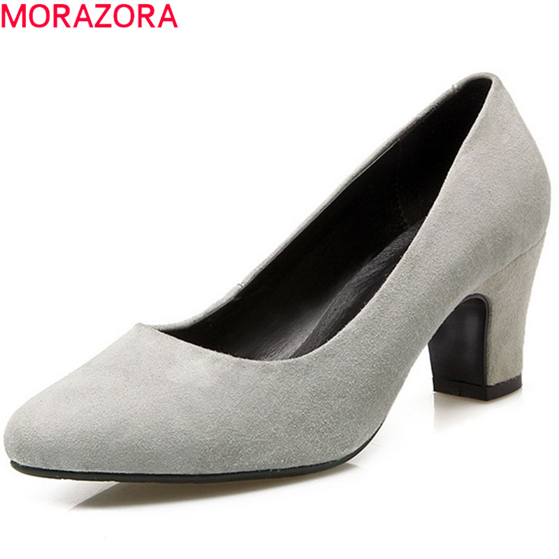 MORAZORA 2018 spring summer kid suede pointed toe female pumps shallow slip on square heels high heels mature women shoes gold chain party 2017 spring summer casual shallow slip on square toe bling square heels women pumps free ship mujer pantufa