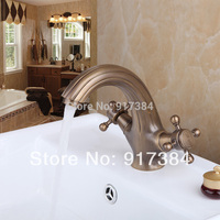 Classical Deck Mounted Ceramic Double Handles Stream Basin Bathroom Vanity Sink Faucet Mixer Tap Brass Antique