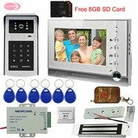 Intercom System WithMagnetic Door Lock 7 TFT Monitor intercom key+8GB Rfid/Password Unlock Door Phone System IP55 waterproof