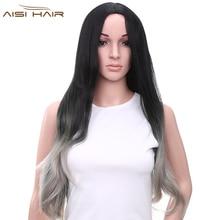 Я 'ы парик Синтетический Длинный Серый Ombre Парики для Чернокожих Женщин Волнистые Седые Волосы