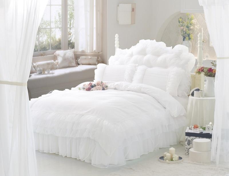 White Ruffle lace Princess bedding set sets Twin full