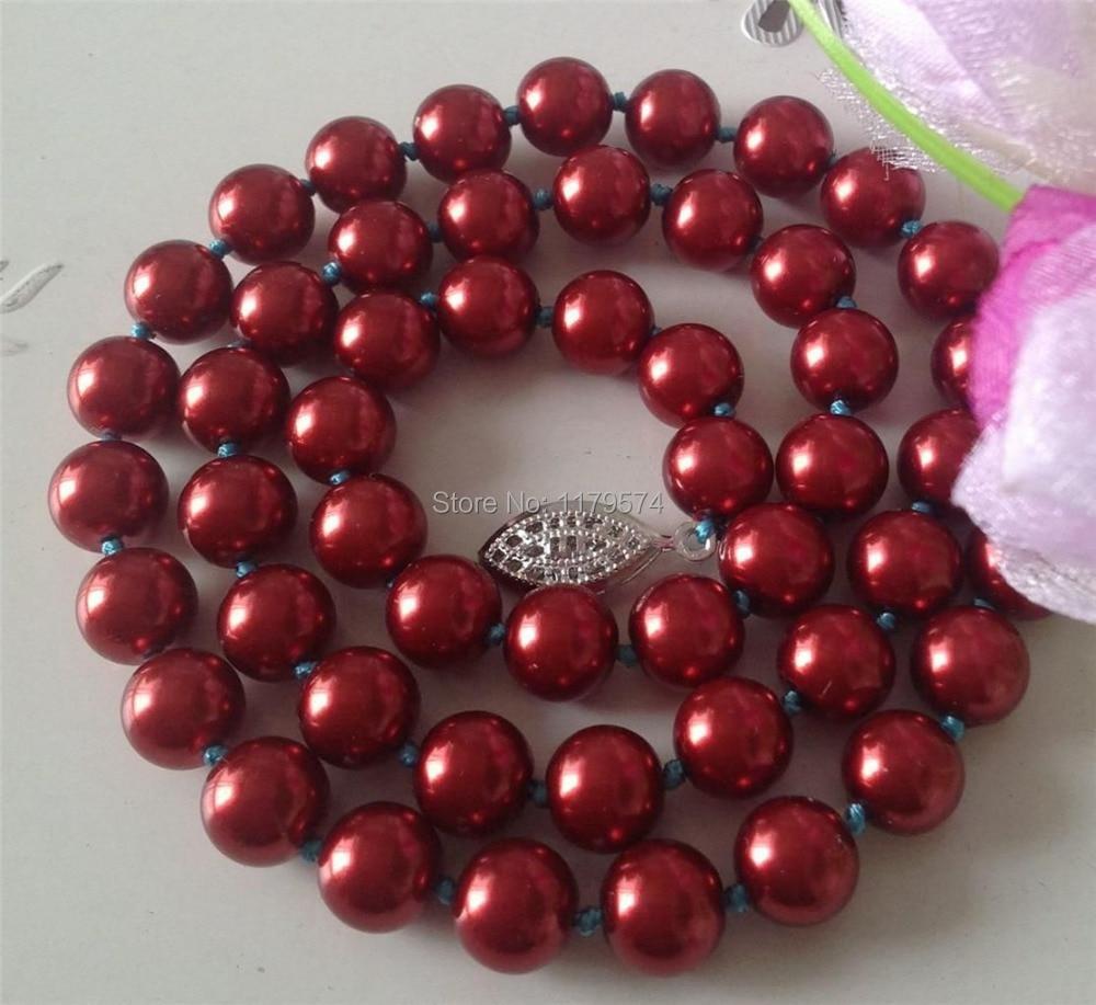 Desconto!! DIY Beautiful10mm vermelho Oceano Sea Shell Pérola Colar 18  tomada de contas de jóias AAA +++ about43pcs vertentes YS0371 5c711ad54c556