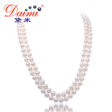 Фотография DAIMI 7-8MM Pearl Necklace Natural White Pearl Double Strand Necklace Wedding Jewelry