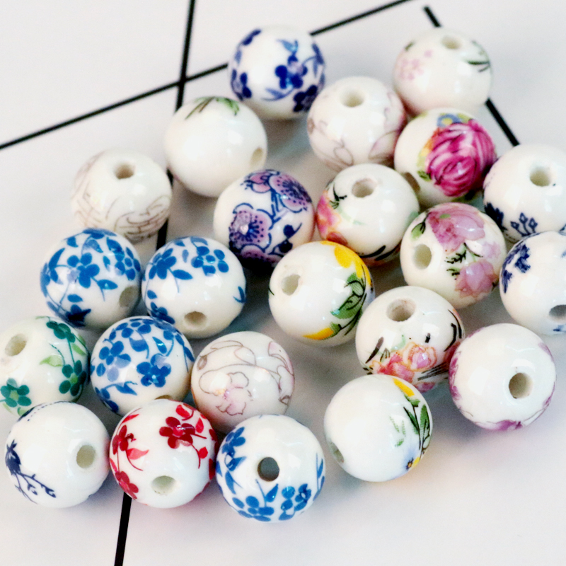 10pcs Ceramic Round Oval Square Loose Porcelain Beads DIY Jewelry Necklace Gifts