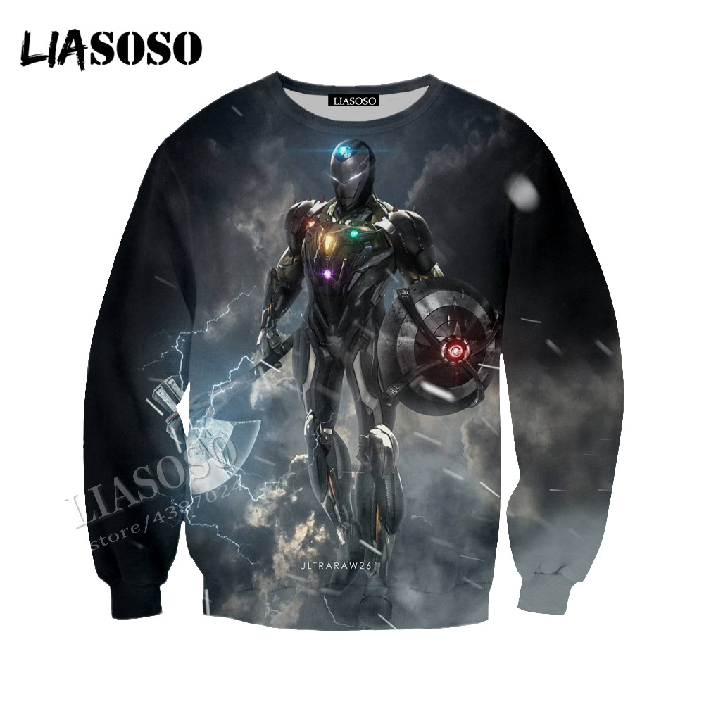 LIASOSO Neutral Pullover Avengers 4 Series 3D Print Ultron Lnfinity gems Tops / Sweatshirts / Hoodie / Zip Hoodie CX067