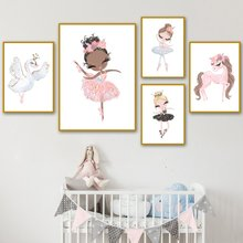 Watercolor Pink Unicorn Swan Girl Crown Flower Nordic Posters And Prints Wall Art Canvas Painting Wall Pictures Kids Room Decor(China)