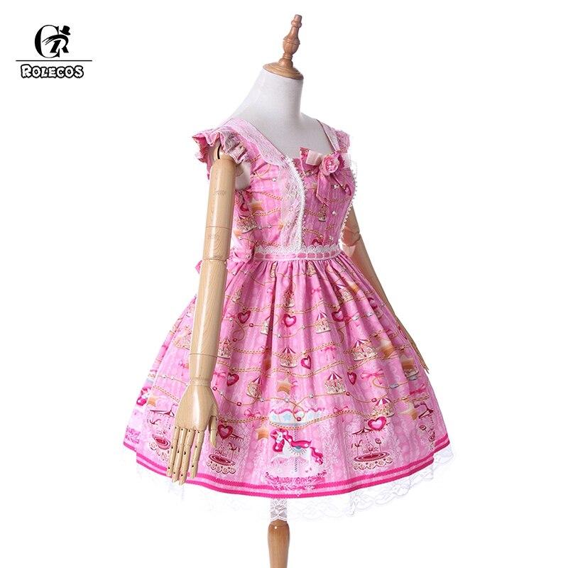 ROLECOS corazón dulce vestido Lolita JSK Rosa imprimir Lolita ...
