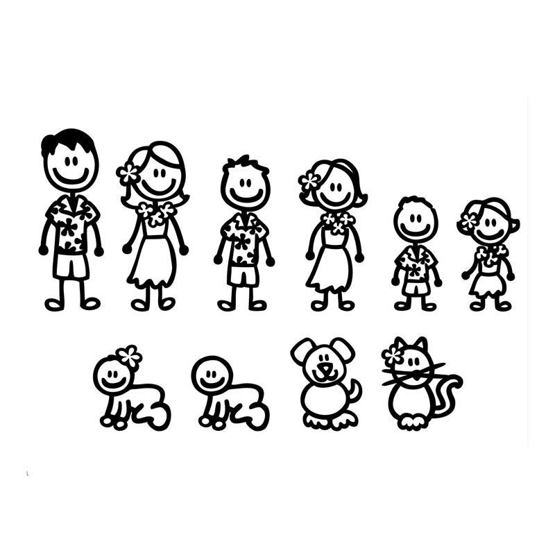 23.9*15.2CM Hawaii Fashion Stick Figure Family Car Stickers Cartoon Motorcycle Vinyl Decals Black/Silver C7-1307 belt