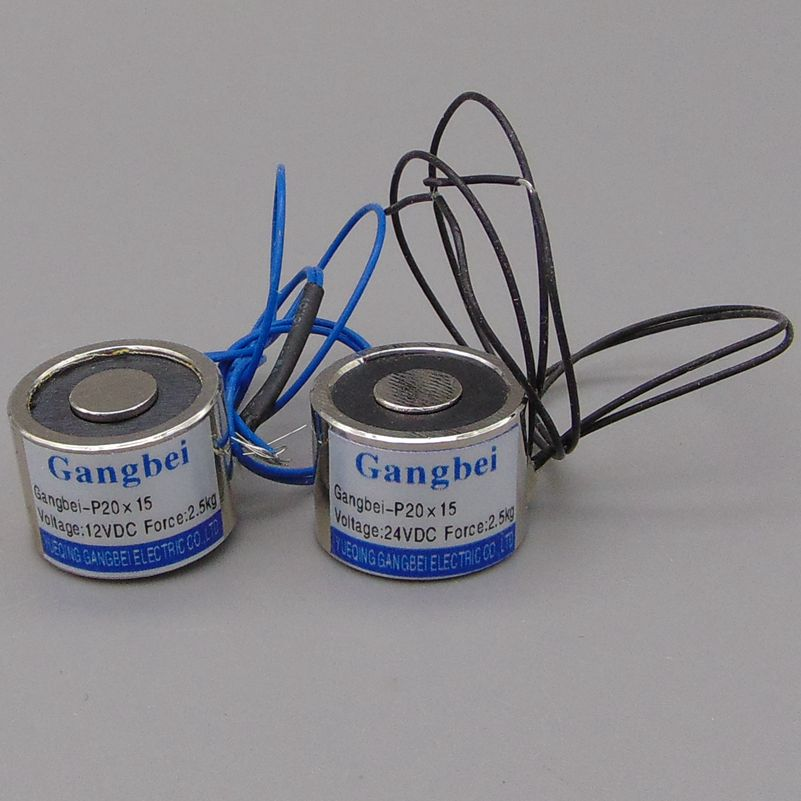 Gangbei-2015 Holding Electric Magnet , Lifting 2.5KG 25N Solenoid Electromagnet 24VDC 12VDC