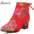AIWEIYi Женская Мода Круглым Носком Мотоцикла Сапоги Красный Высокие Каблуки Свадебные Туфли Женщина Ботильоны Свадебные Ботинки Zapatillas Mujer