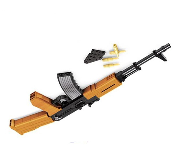 AK 47 Assault rifle GUN Weapon Arms Model 1:1 3D 617pcs Model Brick Gun Building Block Set Toy Gift For Children