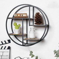 Wall Mounted Iron Shelf Round Floating Shelf Wall Storage Holder and Rack Shelf for Pantry Living Room Bedroom Kitchen Entryway