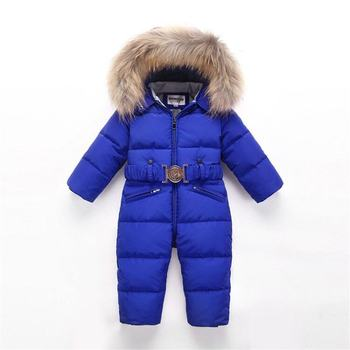 Winter Baby Duck Down Jumpsuit Snowsuit Rompers Overalls Children Thick Warm Real Fur Hooded Jacket kids Outerwear Suit Q41