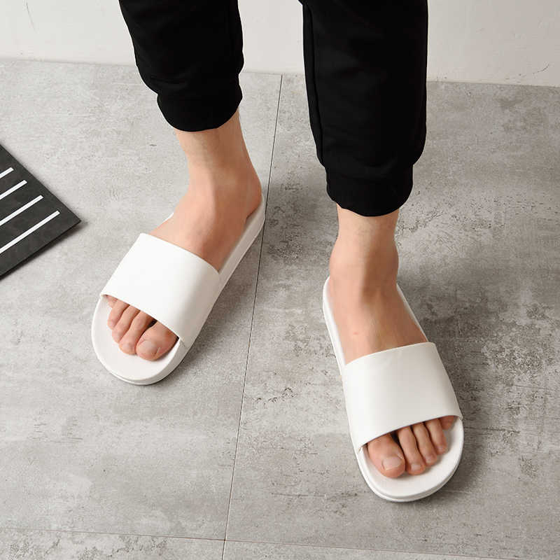 c74b5f4f1b0bb ... ASIFN Men Slippers Casual Black And White Shoes Non-slip Slides  Bathroom Summer Sandals Soft