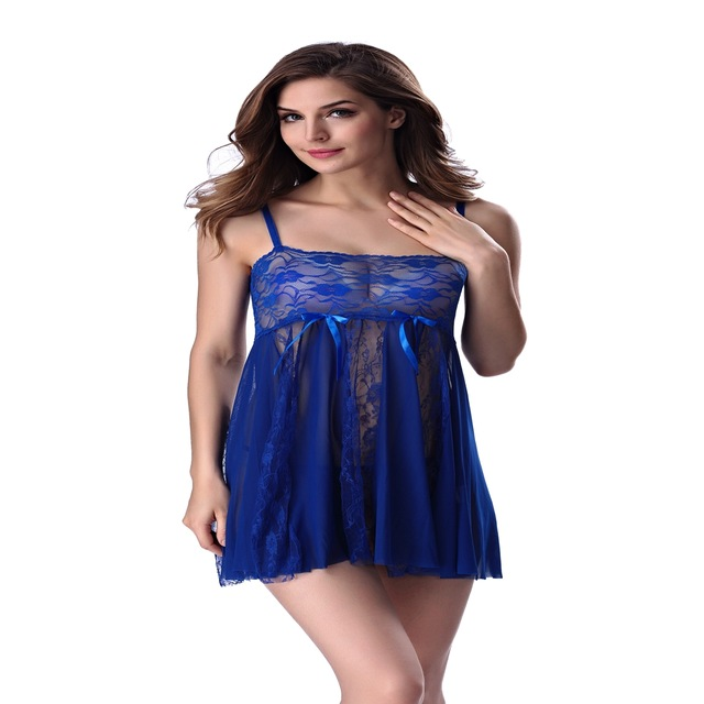 32507be0e9 See Through Lace Sexy Nighty Mesh Black White Blue Purple Red Slip  Strapless Sleep Dress Sexy Lingerie Nightgown Women Sleepwear