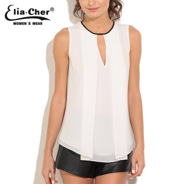 Blusas de chiffon 2017 das mulheres sem mangas tops eliacher marca plus size mulheres clothing chic elegante o-neck sólidos senhora camisas top
