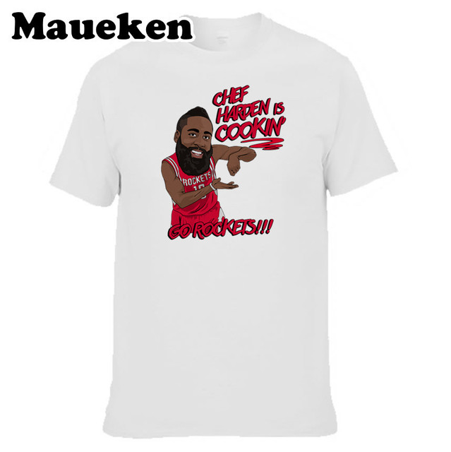 e72d182eef51 Men Chef Harden is Cookin  Houston 13 James Harden T-shirt Tees Short  Sleeve T SHIRT Men s Comic Cartoon S-XXXL W1026003