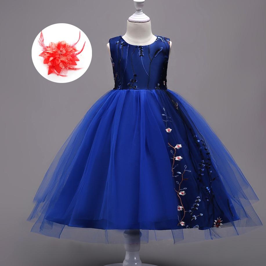 Girls Embroidery Floral Children\'s Dresses Wedding Flower Girl Dress ...