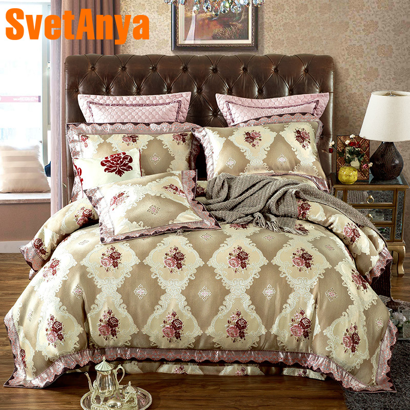 Svetanya Flowers Jacquard Bedding Set Queen King Size Bed Linens (Comforter Cover + Pillowcses + thin or thick Sheet)
