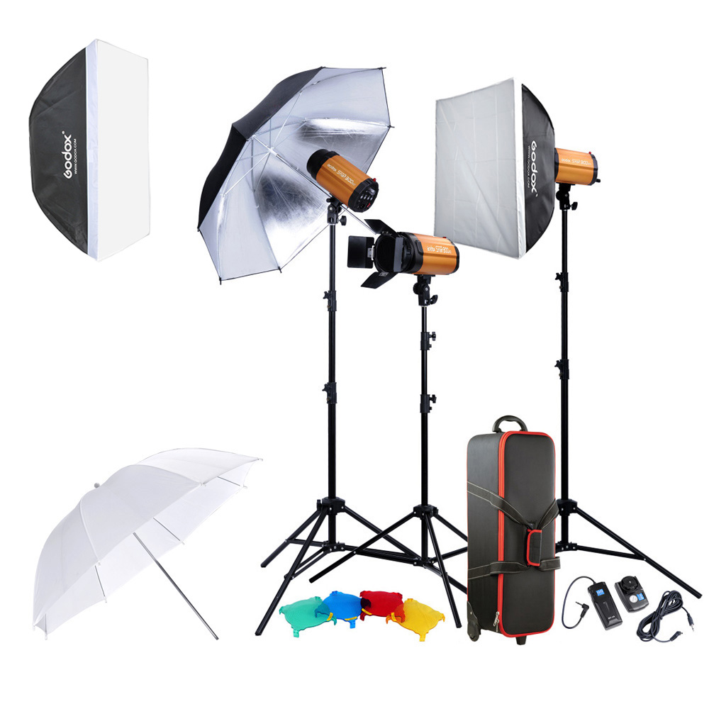 Godox 300SDI Professional Photography Lighting Lamp Kit Set with Light Stand Softbox Barn Door Trigger 300W Studio Flash Strobe цена 2016