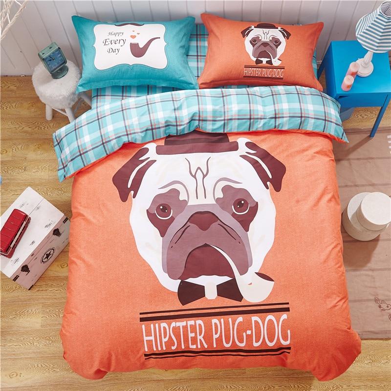 100 cotton super soft cute dog print duvet cover set dogs bedding set teens bedding kids boys and girls twin queen plaid sheet - Kids Sheets Boys