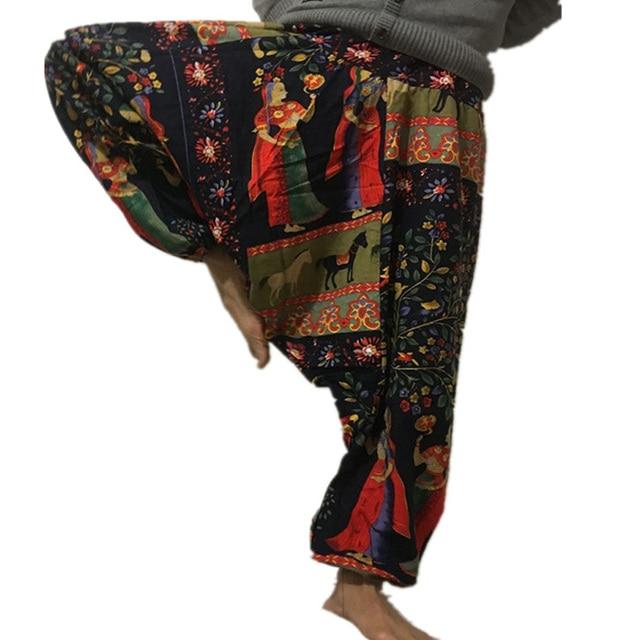 20 Colors Men Causal Flower Print Hippy Baggy Boho Elastic Cross-Pants Loose Trousers Aladdin Wide Leg Cotton Linen Harem Pants 6