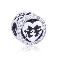 925 Sterling Silver Charms Mickey Minnie Love Clear CZ Beads Fit Original Pandora Charms Bracelet DIY