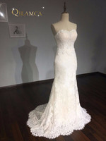 New Design Lace Appliques Mermaid Wedding Dress Sweetheart Sexy Backless Bride Dress With Removable Train Skirt