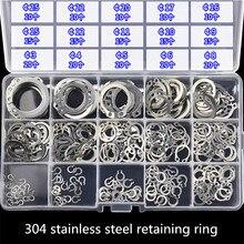 225 шт./лот 304 Нержавеющая сталь Внутренний стопорное кольцо Ассортимент Комплект 3-25 с коробкой