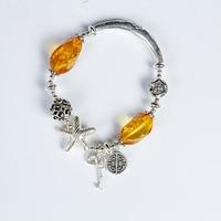 Pur naturel ambre cire d'abeille perles En argent Sterling avec vert pin du sud rouge or or 925 bénédiction sacs BRICOLAGE main chaîne bracelet