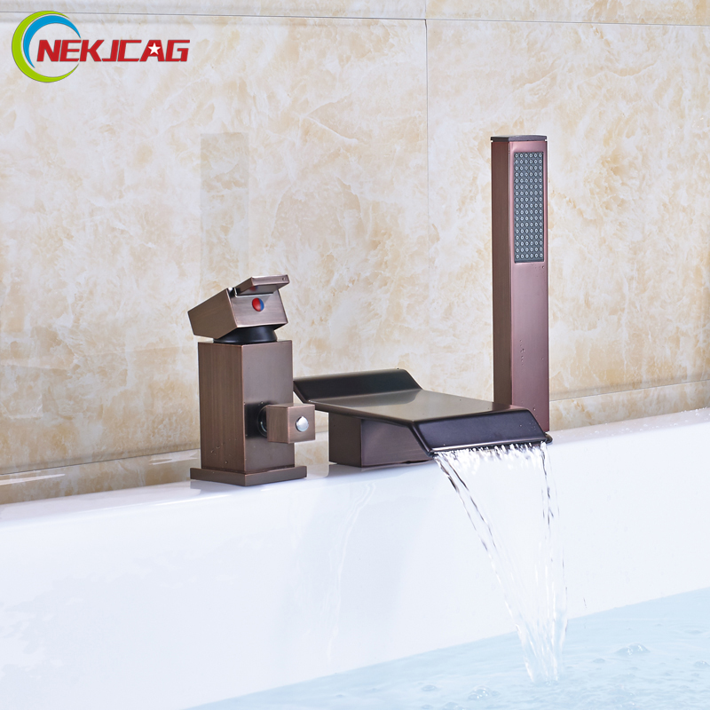 Luxury Oil Rubbed Bronze Waterfall Spout Bathtub Faucet Set Deck Mounted Handheld Tub Sink Mixers Widespread 3 Holes
