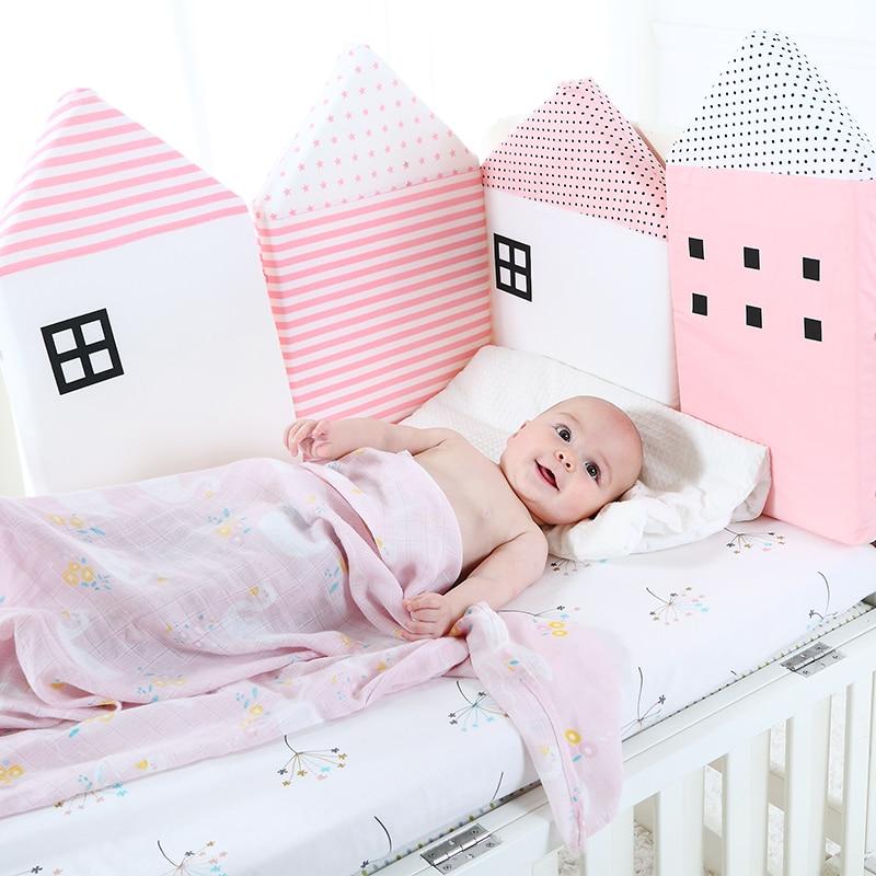 8651d95cba154 Bébé berceau pare chocs pour les nouveau nés nordique lit coussin bébé  protecteur pour bébé lit bébé autour oreillers décor de chambre pour fille  garçon 4 ...