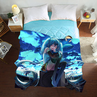 3D Summer Quilts twin full queen Blankets fashion cartoon Bed Cover Children Adults duvet beautiful anime blue soft Comforters