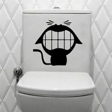 Big mouth cat vinyl wall decal home decor toilet bathroom diy art mural wallpaper removable wall stickers(China)