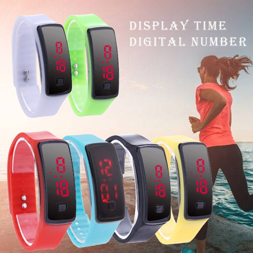 Bracelet Candy Color Watch Sports LED Digital Unisex Casual Silicone Wristwatches Rubber