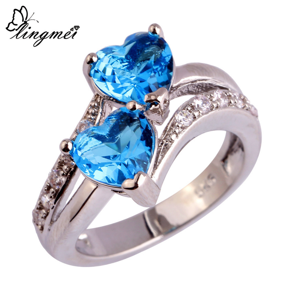 lingmei Fashion Women Jewelry Heart Dazzling Multicolor Red Blue & White CZ Silver  Ring Size 6 7 8 9 10 11 12 Wholesale